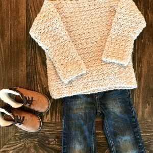 Super Cozy Pullover sweater crochet pattern by Little Monkeys Design - cozy child sweater and jeans