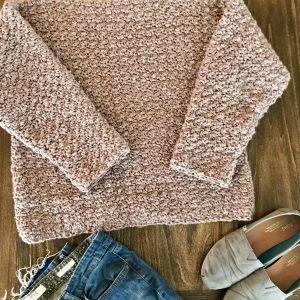 Super Cozy Pullover sweater crochet pattern by Little Monkeys Design - cozy women sweater and jeans