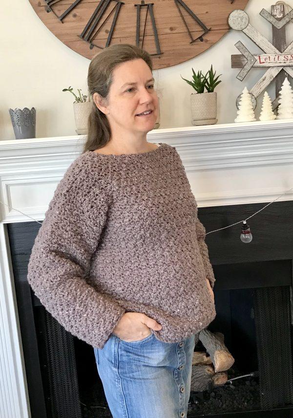 Super Cozy Pullover sweater crochet pattern by Little Monkeys Design - cozy womens sweater - easy crochet pattern