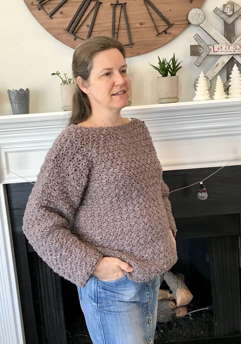 Super Cozy Pullover sweater crochet pattern by Little Monkeys Design – cozy womens sweater – easy crochet pattern
