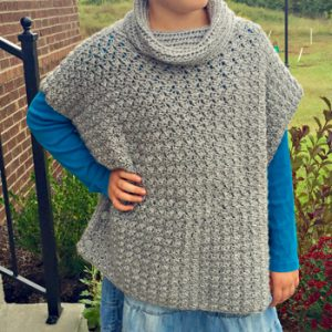 Fiona cowl neck poncho crochet pattern