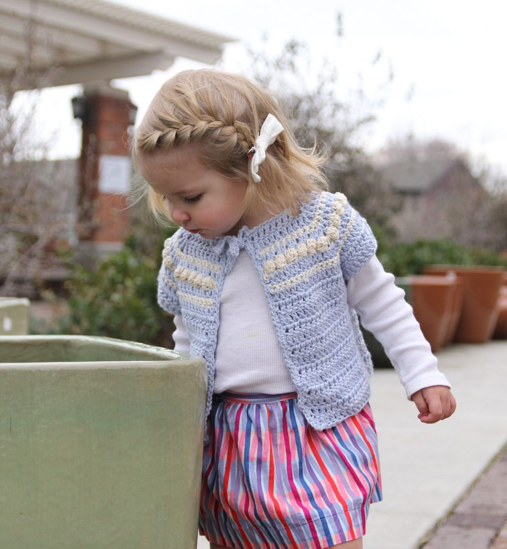 Eloise cardigan crochet pattern – short sleeve cardigan for babies and girls – blue girls spring cardigan crochet pattern