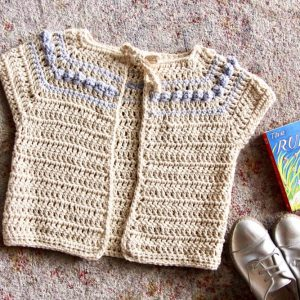 Eloise cardigan crochet pattern - short sleeve cardigan for babies and girls - cream spring sweater pattern