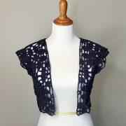 Paris in Summer bolero style sweater cardigan crochet pattern in cotton by Little Monkeys Design