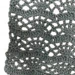 Fan Lace Stitch Square crochet pattern by Mastering Crochet in grey yarn
