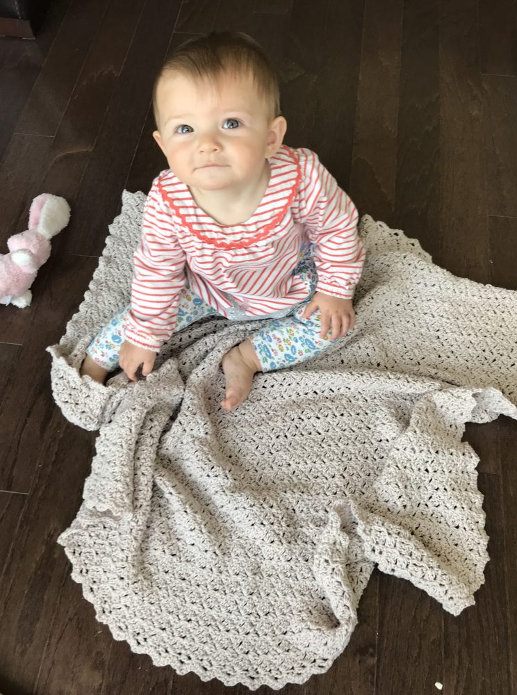 Oh, So Sweet baby blanket crochet pattern by Little Monkeys Design in silver cotton yarn