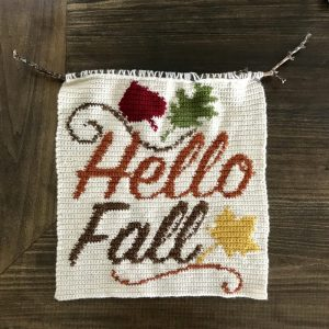 Hello Fall Wall Hanging crochet pattern by Little Monkeys Designs - Fall home decoration project.