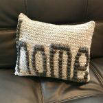 Home pillow crochet pattern by Little Monkeys Designs