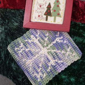 Snowflake Hot Pad crochet pattern - diy holiday gift idea - by Little Monkeys Designs