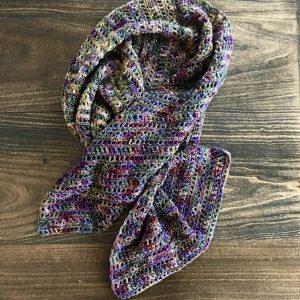 Harvest Warmth Modern Shawl crochet pattern by Little Monkeys Designs - fun scarf crochet pattern