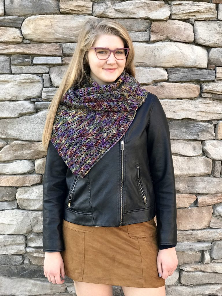 Harvest Warmth Modern Shawl crochet pattern by Little Monkeys Designs - modern crochet shawl pattern