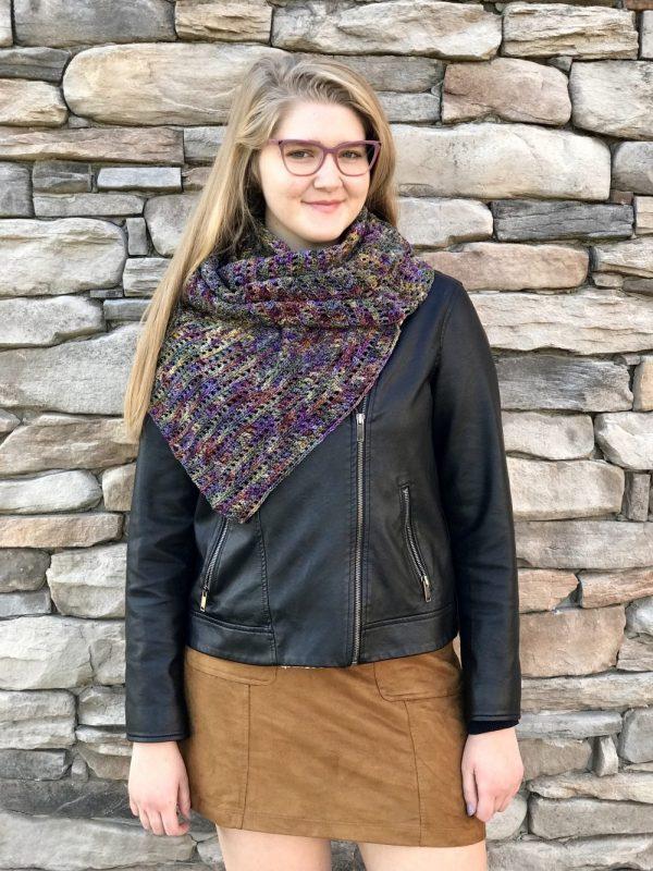 Harvest Warmth Modern Shawl crochet pattern by Little Monkeys Designs - modern crochet shawl pattern