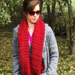 Modern Harvest Day Shawl by Karen in red worsted weight yarn