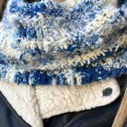 Snow Clouds in art yarn by Crafty Housewife Yarns, crochet pattern by Little Monkeys Designs