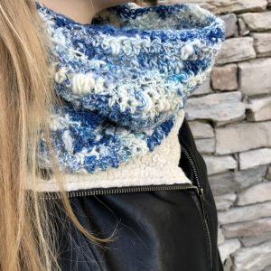 Snow Clouds in art yarn by Crafty Housewife Yarns, crochet pattern by Little Monkeys Designs, blue and cream wool