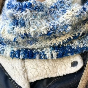 Snow Clouds in art yarn by Crafty Housewife Yarns, crochet pattern by Little Monkeys Designs