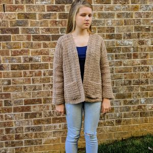 Everyday Casual Cardigan crochet pattern by Little Monkeys Designs in tan