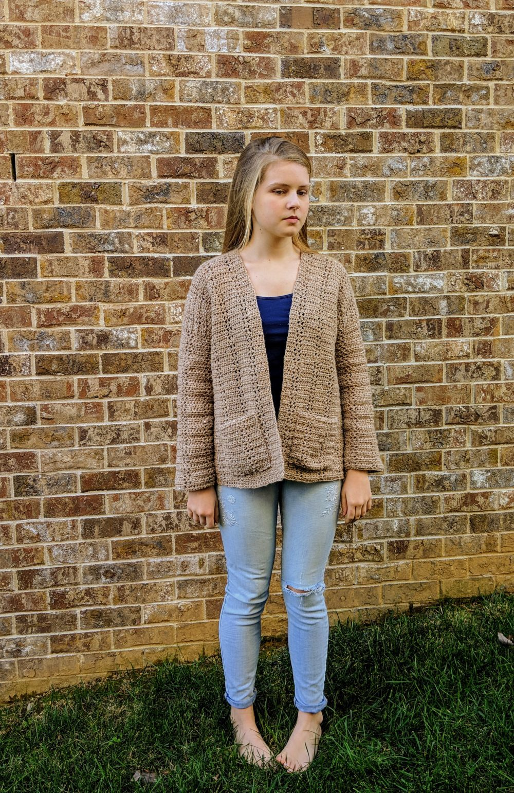 Everyday Cardigan by Little Monkeys Designs in tan