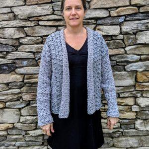 Lacy's spring Cardigan crochet pattern by Little Monkeys Designs - grey spring sweater crochet pattern