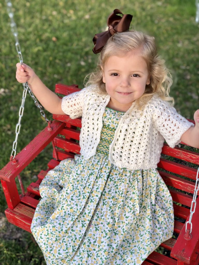 Lillys Cropped cardigan crochet pattern by Little Monkeys Designs - girls Easter sweater crochet pattern cardigan