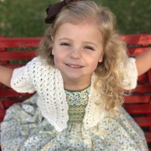 Lillys Cropped cardigan crochet pattern by Little Monkeys Designs - girls lacy cardigan