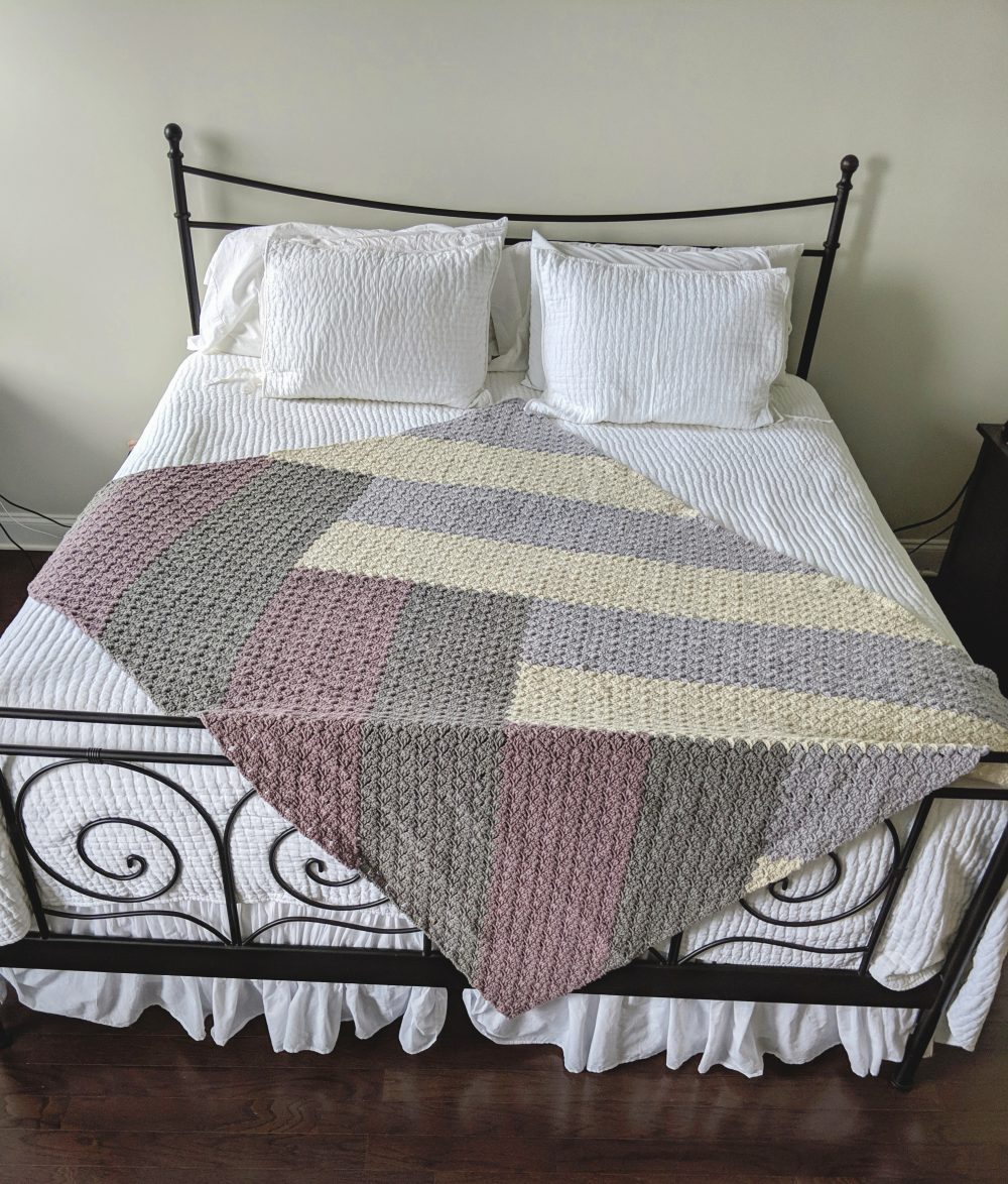 Modern Chevron Quilt blanket crochet pattern by Little Monkeys Designs in natural colors