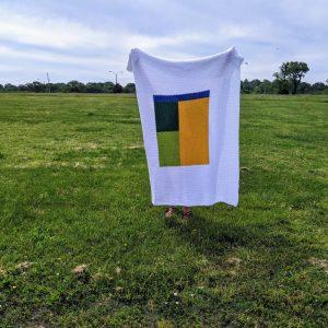 Kemily's Blanket crochet pattern by Little Monkeys Designs - color block throw pattern
