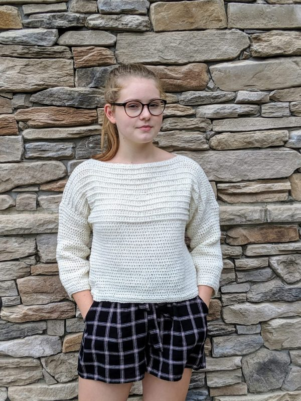 Ribbed Pullover Sweater crochet pattern by Little Monkeys Designs