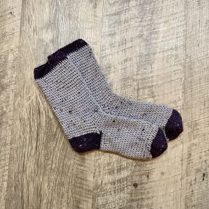 Cozy Socks crochet pattern by Little Monkeys Designs - two color socks - cute socks for beginners