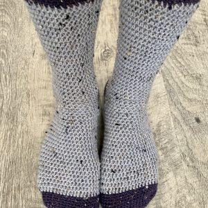 Cozy Socks crochet pattern by Little Monkeys Designs - two color socks - quick sock pattern