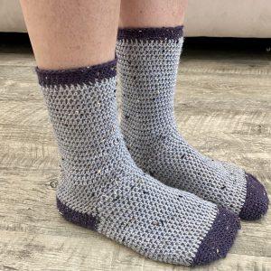 Cozy Socks crochet pattern by Little Monkeys Designs - two color socks