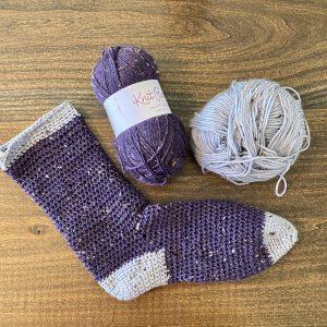 Cozy Socks crochet pattern by Little Monkeys Designs - two color socks - beginner sock pattern