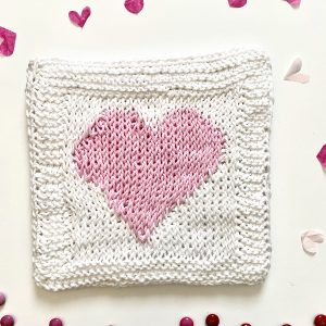 Heart Hot Pad Tunisian crochet pattern by Little Monkeys Designs