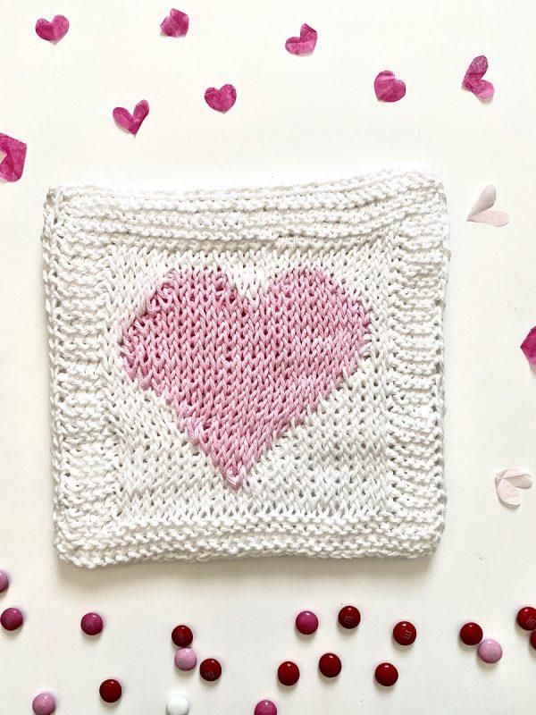 Heart Hot Pad Tunisian crochet pattern by Little Monkeys Designs