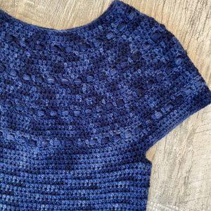 Zaras sweater crochet pattern by Little Monkeys Designs, short sleeve sweater