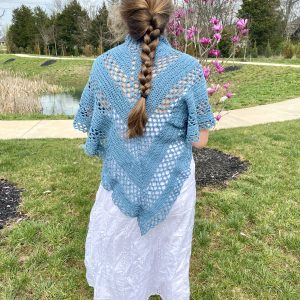 Bluebonnet Shawl crochet pattern by Little Monkeys Designs - triangle shawl crochet pattern