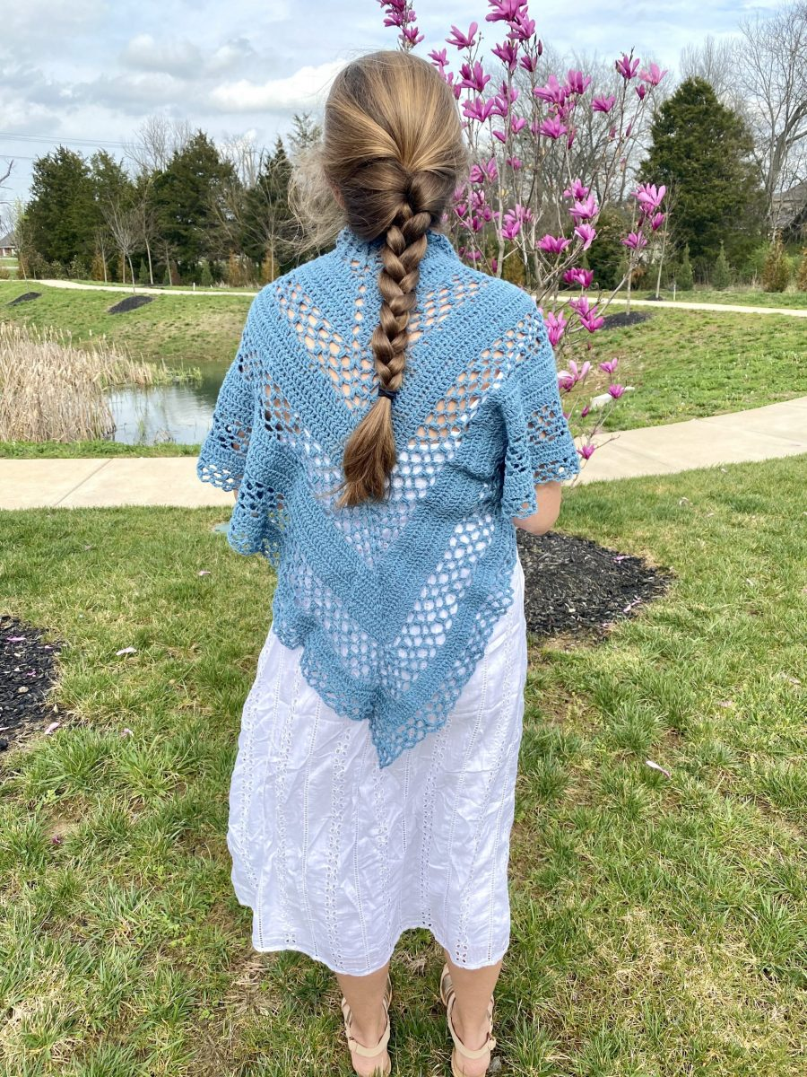 Bluebonnet Shawl crochet pattern by Little Monkeys Designs