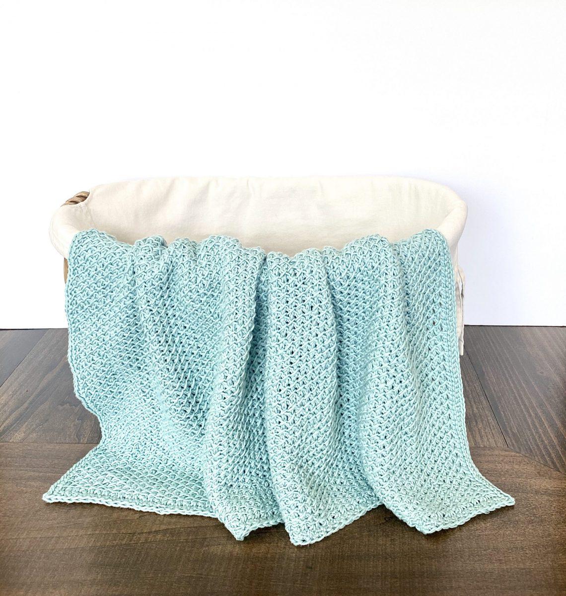 Love in Lattice Baby Blanket crochet pattern by Little Monkeys Designs – Tunisian crochet baby blanket pattern