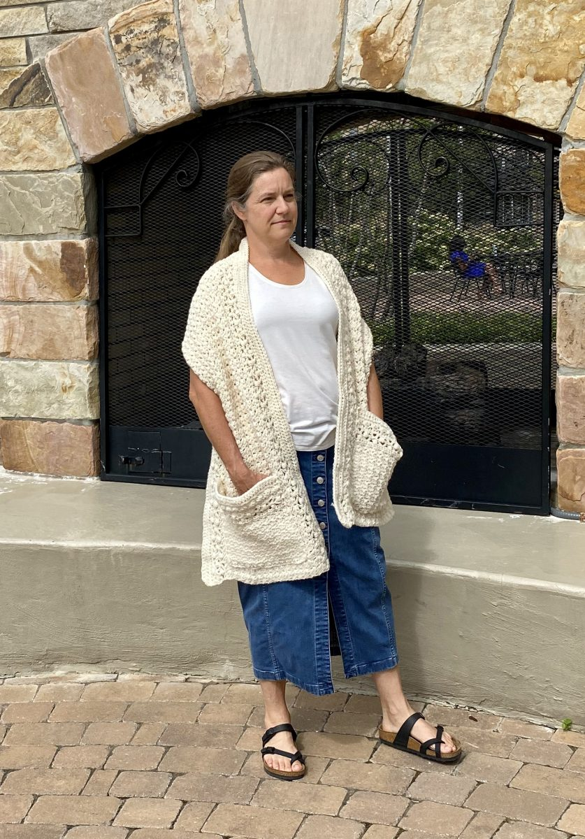 Friendship Pocket Shawl crochet pattern by Little Monkeys Designs