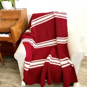 Candy Cane Throw crochet pattern by Little Monkeys Designs
