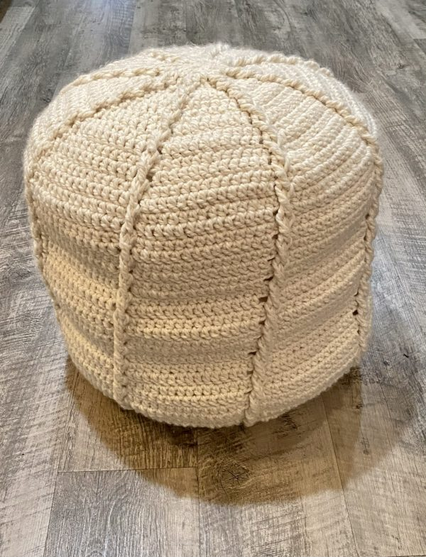 Twisted Cable Pouf crochet pattern by Little Monkeys Designs